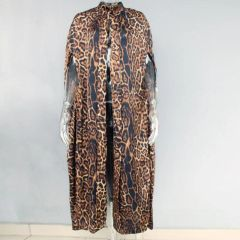 6502 Runway 2019 Leopard Print Long Cape Outwear