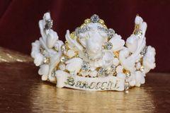 SOLD! 6320 Barocchi White Chubby Cherubs Rhinestones Crown