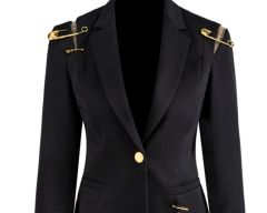 6511 Runway 2019 Safety Pins Black Tailored Blazer