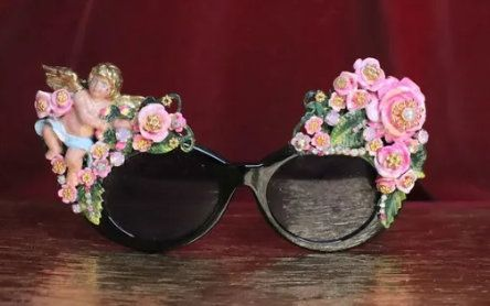 3618 Total Baroque Cherub Flowers Vintage Style Hand Painted Embellished Sunglasses