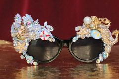 6524 Baroque Mermaid Nautical Coral reef Embellished Sunglasses