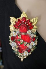 SOLD! 6525 Runway Baroque Red Sacred Heart Brooch