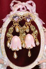 6526 Baroque Magnolia Gold Embellished Massive Studs Earrings