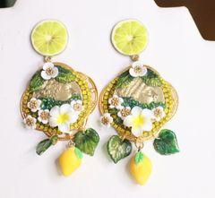 6527 Baroque Runway Lemon Flower Roman Coin Studs Earrings