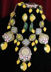 6528 Set Of Baroque Roman Coin Enamel Tile Lemon Fruit Statement Necklace+ Earrings