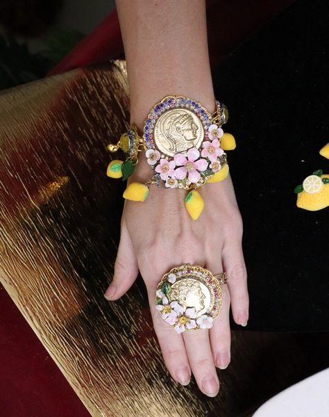 6529 Baroque Hand Painted Roman Coin Lemon Fruit Adjustable Bracelet