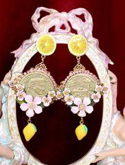 6530 Baroque Runway Lemon Flower Blossom Roman Coin Studs Earrings