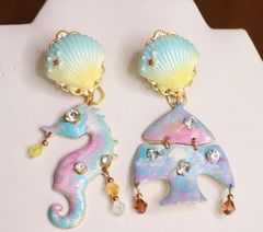 6531 Baroque Runway Hand Painted Nautical Sea Horse Fish Irregular Studs Earrings