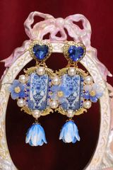 6532 Baroque Runway Hand Painted Blue Vase Sicilian Tile Studs Earrings