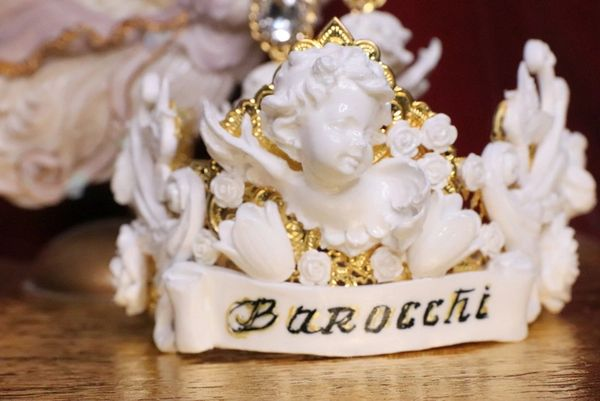 6533 Barocchi White Chubby Cherubs Doves Rhinestones Crown