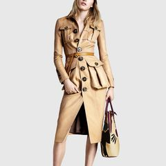 6545 Runway 2019 2 Colors Faux PU Leather Trench- Dress US2