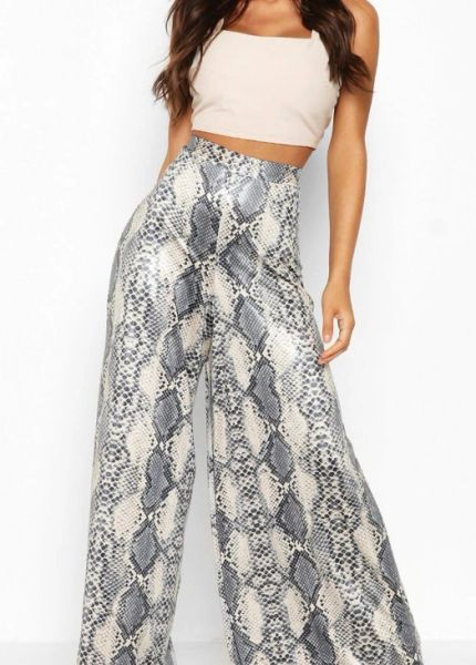 5533 Snake Print Leather Illusion Wide Leg Pants