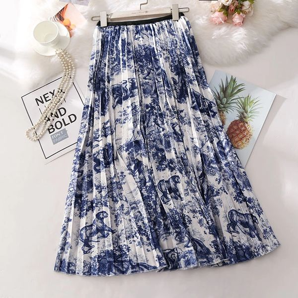 5497 Forest Print Pleated Blue Mid Cuff Skirt