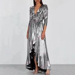 6555 Runway 2019 4 Colors Gold Liquid Wrapped Mid Cuff Dress
