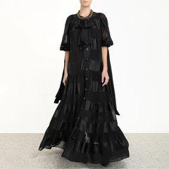 6557 Runway 2019 Sheer Flare Folk Boho Black Dress