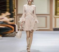 6561 Runway 2019 Pale Pink Embellished Sheer Feather Chic Mini Dress