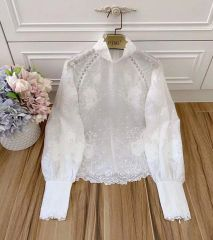 6562 High-End Runway 2019 Embroidery Victorian Top Blouse