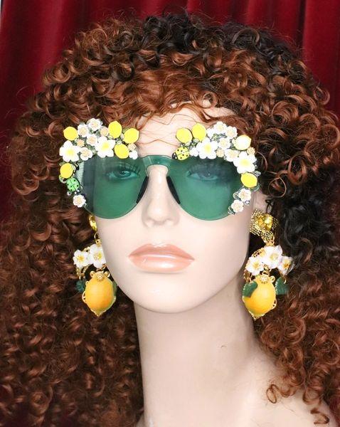6565 Baroque Sicilian Lemon Fruit Green Length Embellished Sunglasses