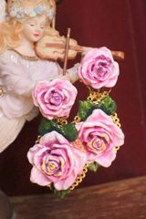 SOLD! 6567 Baroque Sicilian Hand Painted Rose Massive Studs Earrings
