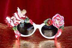 6568 Baroque Embellished Cherub Angel Rose Embellished Sunglasses