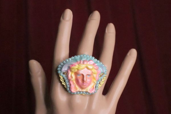 6569 Mythological Rainbow Head Cocktail Adjustable Ring