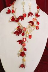 6571 Set Of Baroque Red Flowers Pearl Long Statement Necklace+ Earrings