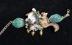 SOLD! 6574 Baroque Oak Clock Squirrel Hand Painted Adjustable Bracelet