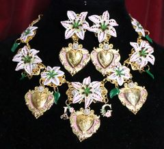 SOLD! 6575 Set Baroque Lily Flower Hearts Massive Necklace+ Earrings
