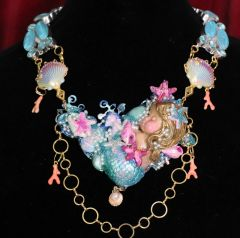 6576Art Jewelry 3D Effect Vivid Sleeping Mermaid Genuine Triplet Opal Necklace
