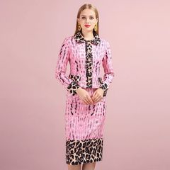 6576 Runway 2019 Leopard Print Pink Elegant Skirt+ Blazer Twinset