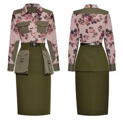 6582 Runway 2019 Military Floral Cargo Pockets Skirt + Shirt Twinset