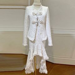 6589 Runway 2019 Coco Tweed Milky Fringe Rose Buttons Mermaid Dress+ Blazer Twinset