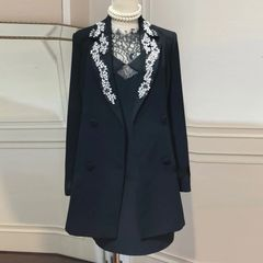 6591 High-End Runway 2019 Rhinestones Embellished Long Blazer+ Slip Dress Twinset