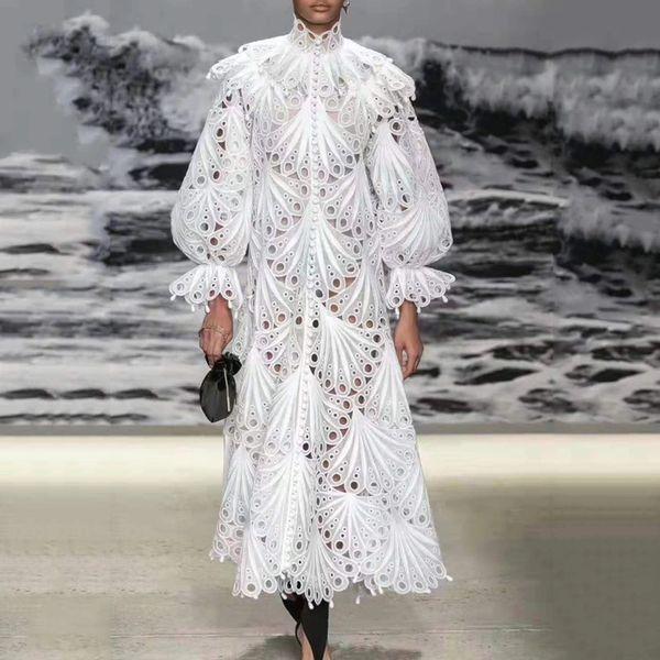 5495 Stunning Runway 2019 Crochet Buttons Victorian Mid Cuff Dress