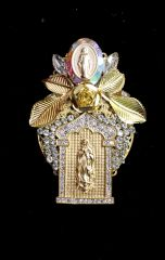 SOLD! 6595 Virgin Mary Gold Tone Metal Clear Rhinestones Massive Brooch