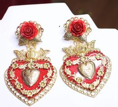 6596 Baroque Massive Sacred Heart Runway Rose Studs Earrings