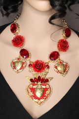SOLD! 6597 Baroque Sacred Hearts Roses Massive Necklace