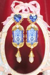 6598 Baroque Sicilian Blue Vase Tile Pattern Studs Earrings