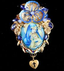 6603 Virgin Mary Painting On Genuine Agate Massive Brooch