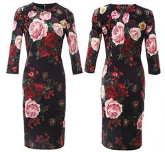 6605 2 Colors Baroque Rose Flower Print Elegant Midi Dress