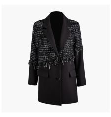 6611 High-End Runway 2019 Tweed Blend Oversized Long Blazer