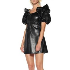 6614 Runway 2019 2 Colors Faux PU Leather Minx Mini Dress