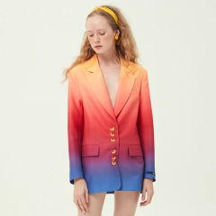 6615 High-End Runway 2019 Rainbow Oversized Long Blazer