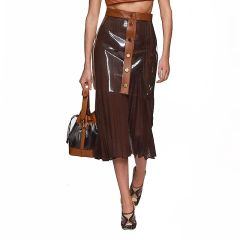 6622 High-End 3 Colors Runway 2019 PU Leather Clear Layer Midi Skirt