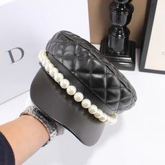 6623 Runway 2019 PU Faux Leather Pearl Visor Buttons Black