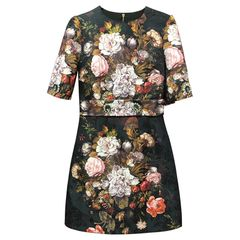 6624 Vintage Style Baroque Flower Print Jacquard Mini Black Dress