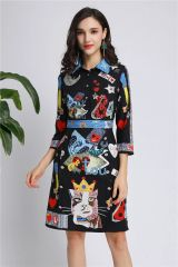 6626 Runway Grunge Cat Print Mini Black Dress