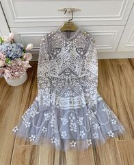 6627 High-End Runway 2019 High-End Sequined Grey Sheer Mini Dress