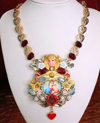 6632 Madonna And a Child Cherub Hand Painted Massive Pendant Necklace