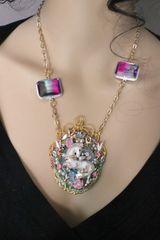 SOLD! 6634 3D Effect Unicorn Genuine Agate Fairy Tourmaline Massive Pendant Necklace